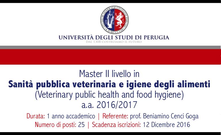 Master Sanità pubblica veterinaria e igiene degli alimenti – UNIPG